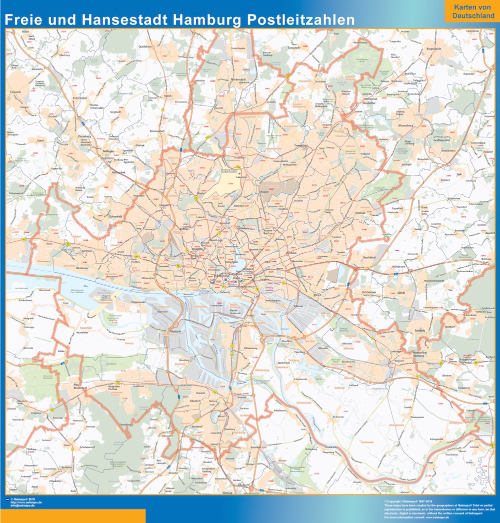Freie Und Hansestadt Hamburg Zip Codes Map Wall Maps Of He World