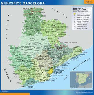 Municipalities Barcelona Map From Spain Wall Maps Of He World