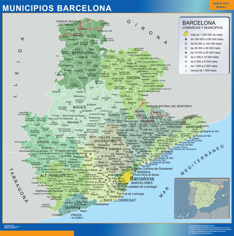 Municipalities Barcelona Map From Spain Wall Maps Of He World