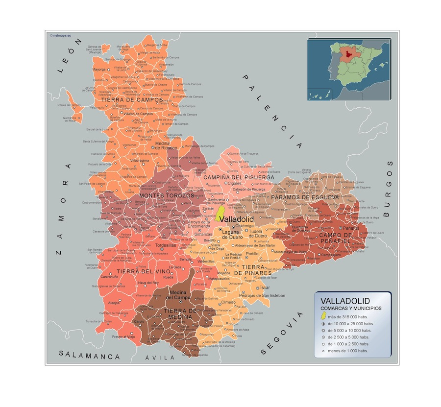 Municipalities Valladolid Map From Spain Wall Maps Of He World