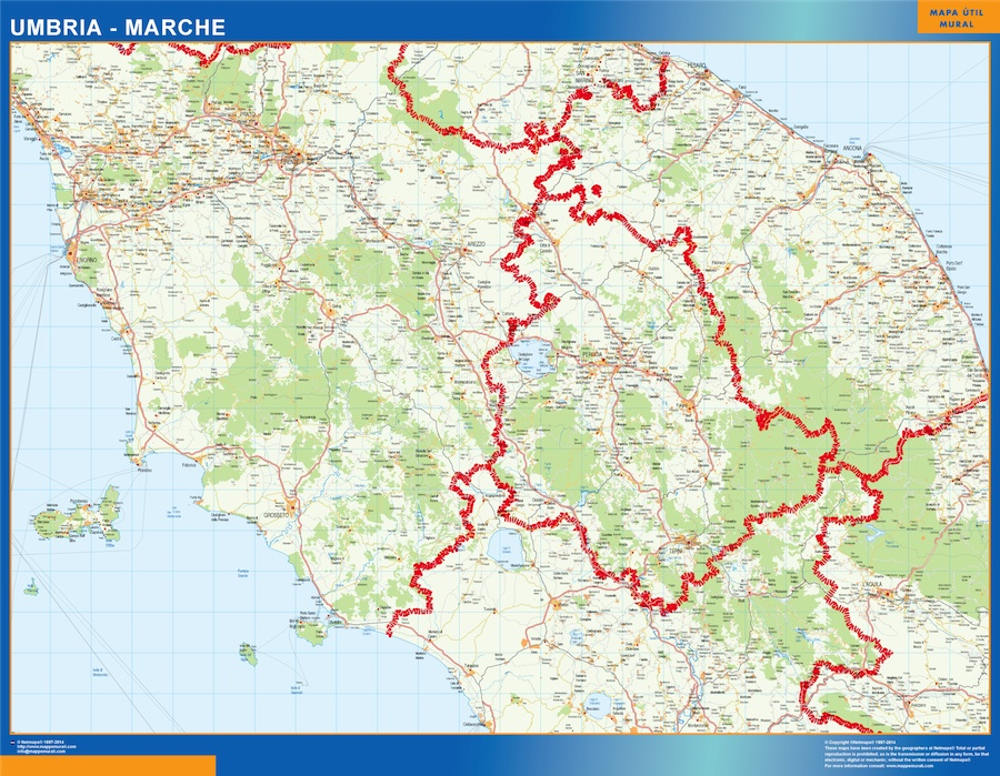 Marche Cartina.Region Of Marche In Italy Wall Maps Of He World