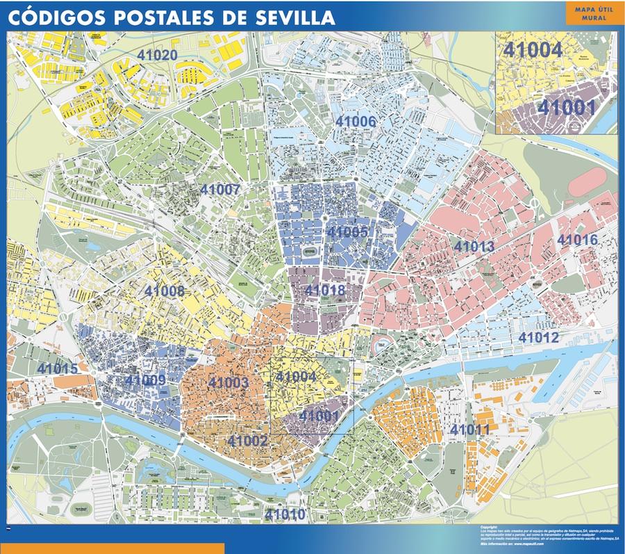Mapa De Sevilla Capital.Zip Codes Sevilla Map