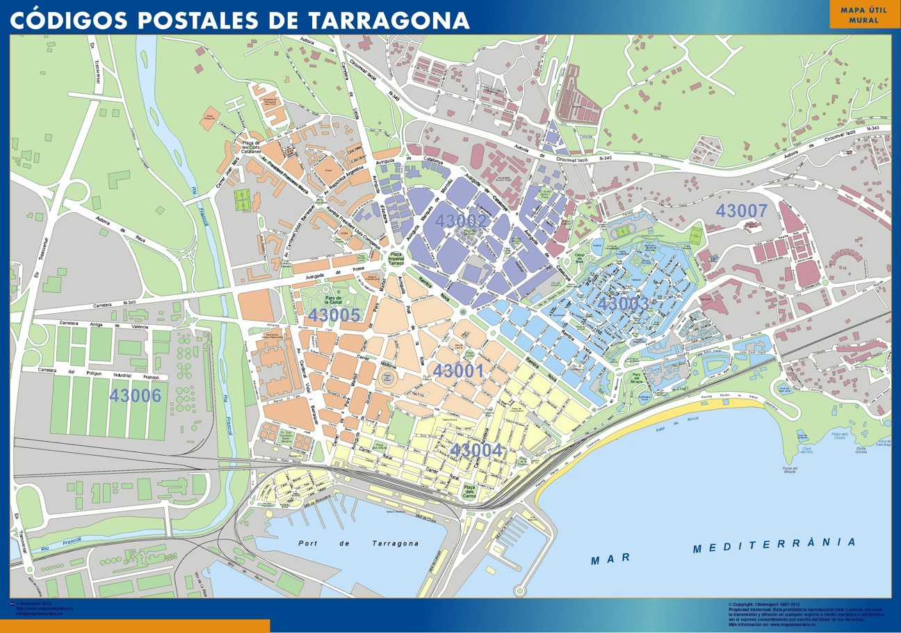 Zip Codes Tarragona Map Wall Maps Of He World